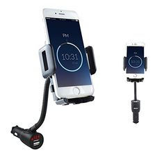 Scosche Powermount Flex Universal Car Mount Charger Dock Holder with 2 USB Ports Car Charging Stand for All Smartphone/Iphone/Ipod/MP3 Devices