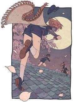 Full moon Draw your knife Light scarf Roof chases Light brown hair HEROINE Art And Illustration, Fantasy Kunst, Fantasy Art, Pretty Art, Cute Art, Aesthetic Art, Aesthetic Anime, Manga Art, Anime Art