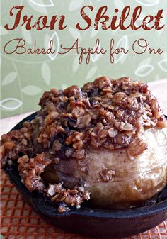 Cast Iron Skillet Baked Apple/ Miss Information Blog / #Apple #fallrecipes #bakedapple #dessert