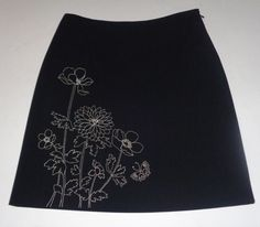 Ann Taylor Black Skirt w/White Floral Stitching SZ 6P NWOT  #AnnTaylor #ALine