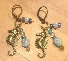 Brass seahorse sea horse charm dangle drop earrings leverback lever back crystal blue green aqua pearl Beach ocean cruise vacation resort by RideTheWindDesigns on Etsy
