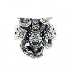 Samurai 925 Sterling Silver Men Ring, Personalised Engraving Ring, Japanese Style Warrior Biker Ring, Jewellery Gift For Him,