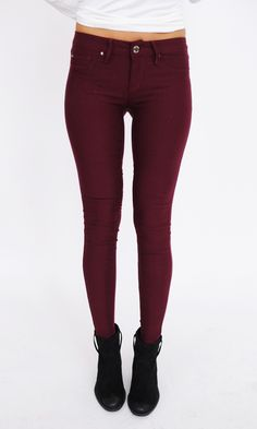 Hyper Fleece Jeggings- Maroon - Dottie Couture Boutique