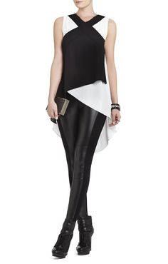 Veronika Sleeveless Color-Blocked Top | BCBG
