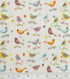 Sweet tweets :) Birds on white background #fabric