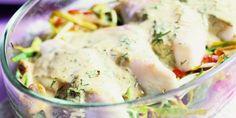 Boodschappen - Visfilets op een bedje van prei en paprika met dille-mosterdsaus