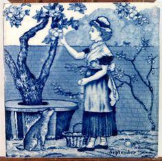 """Strange dog... 19thC Wedgwood Blue/White Underglaze 6"""" Months Tile September (2 of 2) 1880 - ebay £9.95"""