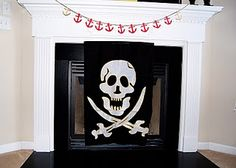 Pirate Party fireplace decor. I always try to add decor throughout the house & the fireplace &/or mantel are a natural to decorate.