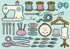 Kawaii Sewing clipart thème couture et broderie Kawaii Sewing clipart theme stitching and embroidery. Kawaii Stickers, Cute Stickers, Kawaii Drawings, Easy Drawings, Griffonnages Kawaii, Kawaii Anime, Sewing Machine Drawing, Sewing Clipart, Sketch Note