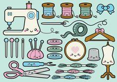 Kawaii Sewing clipart thème couture et broderie Kawaii Sewing clipart theme stitching and embroidery. Chibi Kawaii, Kawaii Doodles, Kawaii Art, Kawaii Anime, Kawaii Drawings, Easy Drawings, Planner Stickers, Sewing Machine Drawing, Sewing Clipart