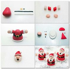 Santa cake decorations These cute little father Christmas characters are the perfect thing to top cakes and bakes over the festive season. Easy to make with this step-by-step guide: Christmas Cupcake Toppers, Christmas Cake Designs, Christmas Topper, Christmas Cake Decorations, Christmas Clay, Christmas Cupcakes, Holiday Cakes, Christmas Cooking, Christmas Treats