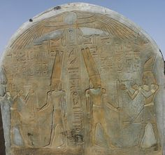 """Amenhotep offering to the King of the Gods, Amun During the period of Amarna, the Pharaoh Akhenaten suppressed the cult of Ra in favor of a single sun god Aten, the deified solar disc, but after the death of Akhenaten the cult of Ra was restored. Your city worship was Heliopolis, where was the sun god, """"Father of all the winds"""" and """"Soul of the wind."""""""