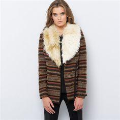 Tweed Biker Style Jacket with Faux Fur Collar