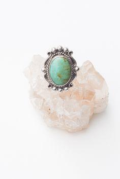 Framed Ornate Turquoise Ring