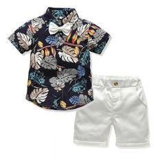 Boys T Shirt Set Fish Anchor Ship Kids Summer Shorts Top Holiday Shirts Shorts