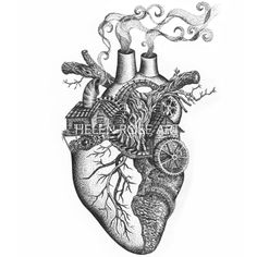 'Home Is Where The Heart Is'- Anatomical heart illustration | Surrealism. Human heart drawing