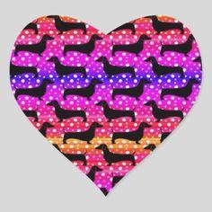 Rainbow Polka Dachshunds Heart Sticker   dachshund print, dachshund christmas, dachshund care #dachshundsunite #dachshundsaroundglasgow #dachshundslovers