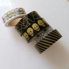 Halloween washi tape - 24 inch sample - Sugar skulls - Gold spiderwebs - Gold skulls - Black spiderwebs - Gold stripes - washi tape samples by WashiYouDoing on Etsy