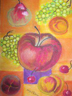 Bildtitel: Der Obstgarten  Technik: Pastellkreide Größe :   30 x 40 cm