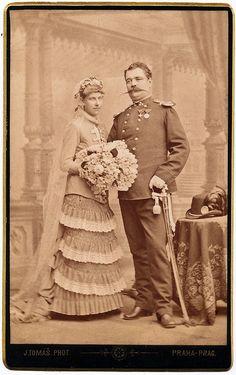 Policeman´s Wedding Photo by josefnovak33    Via Flickr: Photographer Jan Mulač in Prague. CDV late 1870s.