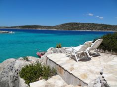 #Self #Catering #Villa : http://www.goholidaylets.com/Croatia/957 Who wants to reserve these seats to enjoy this wonderful view in Croatia ? Beachfront villa with private beach in Kanica on Rogoznica Riviera. Villa by the sea, ideal for enjoying 4-6 people in a relaxing and peaceful ambience