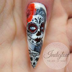 Halloween Acrylic Nails, Halloween Nail Designs, Cool Nail Designs, Sugar Skull Nails, Sugar Scull, Lady Nails, Toe Nails, Diva Nails, I Am The One