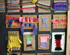 yarn weaving on cardboard