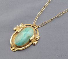 Arts & Crafts 14kt Gold and Turquoise Necklace, The Kalo Shop | Sale Number 2437, Lot Number 726 | Skinner Auctioneers