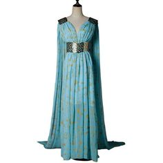 Mycos Game of Thrones Daenerys Targaryen Mother of Dragons Blue... ($20) ❤ liked on Polyvore featuring costumes, cosplay costumes, cosplay halloween costumes, blue dragon costume, dragon costume and role play costumes