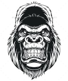 Buy Gorilla Head by on GraphicRiver. Vector illustration, ferocious gorilla head on white background Vector graphics Install any size without loss of qual. Gorilla Tattoo, Tattoo Sleeve Designs, Tattoo Designs Men, Vector Graphics, Vector Art, Vector Design, Design Design, Monkey Art, Chicano Tattoos