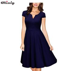 Cheap women dress, Buy Quality a-line dress directly from China women dress formal Suppliers: Oxiuly Audrey Hepburn 50s Vestidos Womens Dress Formal V Neck Casual Office Wear Working Bodycon Knee Length A-line Dresses