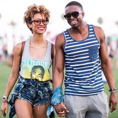 The 18 Most Stylish Couples At Coachella  #refinery29  http://www.refinery29.com/2015/04/85941/cutest-couples-coachella-2015-pictures#slide-5  Teen Vogue beauty & health director Elaine Welteroth was all smiles while strolling hand-in-hand with her beau, Jonathan Singletary. We're taking notes on how the duo managed to make tank tops look so stylish.