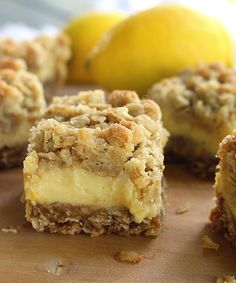 These light and refreshing Creamy Lemon Crumb Bars are the perfect dessert on a hot summer day! Lemon Recipes, Sweet Recipes, Baking Recipes, Cookie Recipes, Dessert Recipes, Just Desserts, Delicious Desserts, Yummy Food, Healthy Lemon Desserts