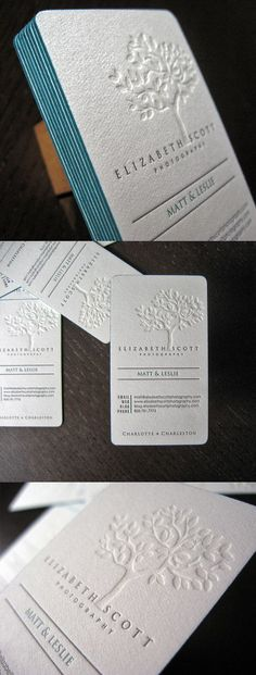 Business card ideas | blind-printing – which means letterpress printing with no ink, causing an embossed effect. Gives a clean, white-on-white effect (or whatever other color paper you use.) and then