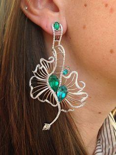 18-karat white gold Paraiba tourmaline, emerald and diamond earrings from Caroline Chartouni