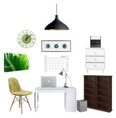 """""""Home office"""" by nhitasheilota on Polyvore featuring interior, interiors, interior design, home, home decor, interior decorating, TemaHome, Pablo, WallPops and Umbra"""