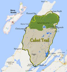 Map of the Cabot Trail, Cape Breton Nova Scitia, Cape Breton Highlands National Park. For a scenic drive, take Route 19 along the Ceilidh Trail. This will take you through villages such as Judique and Mabou East Coast Travel, East Coast Road Trip, Cap Breton, East Coast Canada, Nova Scotia Travel, Trans Canada Highway, Voyager Loin, Canadian Travel, Atlantic Canada