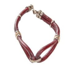 Dark Brown Colored Oval Loop, 2 Strand Leather Bracelet. Avatar Sterling. $7.50. Alpaca and Leather Bracelet With S-Clasp