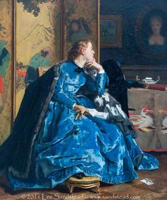 The Blue Dress - Alfred Stevens 1865-1867