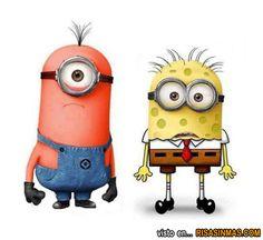 Minions como Patricio y Bob Esponja.