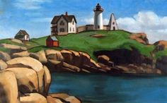 """Henry Strater (1896 -1987) """"Rocks at the Nubble."""" 1930 Ogunquit Museum of American Art, Permanent Collection"""