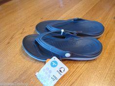 Mens womens crocs duet navy LT grey M 5 W 7 flip flops thongs sandals relaxed  1
