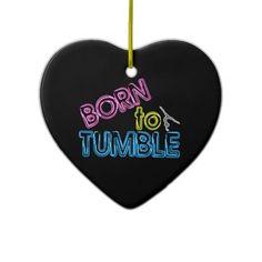 Born to Tumble Neon Gymnastics Heart Ornament - custom text on the back
