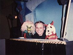 Larry Smith Puppets -- A show produced in Cincinnati. I used to rush home from school to see it.  Here is Larry shown with Hattie the Witch (Batty Hattie from Cincinnati) and Snarfie (our) Dog.