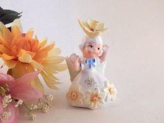 Flower Girl Figurine Magnetic Bobby Pin Dish VTG 1958 Napco Collectible Decor #Napco