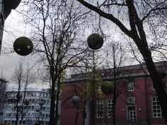 Christmas baubles before the theater in Essen Ruhr Area by Mary Mas M