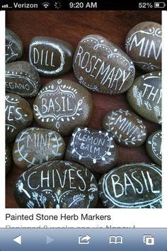 Painted rocks for labeling the garden herb or garden. Love this craft idea!