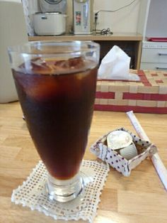 食後はオーガニックアイスコーヒーいただいています。