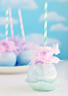 Pastel Swirl Cotton Candy Apple.