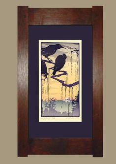 Framed Block Print - The Kindness of Ravens - Yoshiko Yamamoto of The Arts Crafts Press Arts And Crafts Furniture, Frame Crafts, Japanese Prints, Arts And Crafts Movement, Craftsman Style, Woodblock Print, Printmaking, Art Nouveau, Contemporary Art